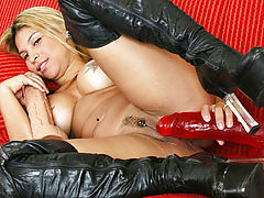 Naked Babes, Cindy pounds red dildo