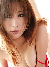 Old Pussy, Asian babe in red lingerie slowly strips