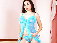 Hot Babes, Lovely Nubile Cheryl pleasures her pussy on a bed of soft pink