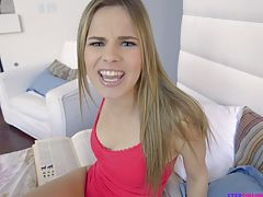 When her stepbrother walks in on her masturbating Jillian Janson offers to suck him off so hes hard and ready to fuck