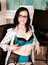 Emily Marshall marked in Small Boobs,Hairy Pussy,Black Hair,Long hair,Bras,Lingerie,Masturbation,Fair Skin,High Heels,Glasses,Big Areolas,Natural,Milf,Stockings