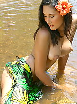 Asian Women sharon 03 puffy nipples river water