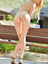 girl girl action, Sexy Bitch Blake Outdoor Sexuality shows her naked tits, draws down her lingerie and spreads her legs and stimulates her moist pussy