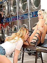Four hotties fuck one lucky guy at the laundrymat