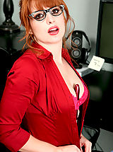 Secretary Babes: Amber Dawn, Red hot office exec Amber Dawn slides off her thong to masturbate with a dildo