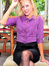 Anilos Pics: Horny cougar secretary loves to slowly peel off her office attire while you watch