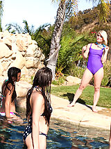 Naughty America Pics: Ash Hollywood finished her swim when she decides a hot fuck in the sun would be fun
