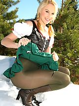 Joceline looking stunning in fraulein outfit with boots and pantyhose.