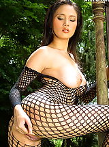 Asian Babes: Asian Women annie chui 09 forest bodystocking hanging