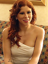 Naughty America Pics: Gorgeous redhead meets her client and has to be a slave for big cocked horny client.