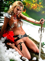 behaarte möse, Sexy topless blonde amazon babe posing with two swords and masturbates