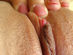 Clitoris Size Gallery, Attractive Whore Nina Loves To Play reveals her naked boobies, draws down her knickers and spreads her limbs and fingers her tight cunt