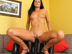 Sexy Babe, India Fucking A Thick Long Brutal Dildo