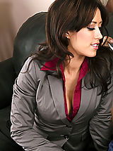 Secretary Pussy: Sexy brunette in stockings fucks a married man