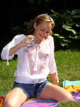 tabitha 15 wet t shirt cucumber picnic shaved pussy