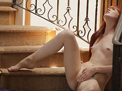 FTV Videos, Redhead Elle Alexandra is so hot and horny that she has to stop everything and pleasure her needy pussy on the stairs