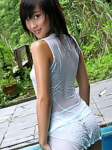 Asian Babes: Asian Women lolita cheng 10 water pool wet shirt small tits