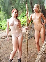 all ladies shaved, Nude hike with Lena and Melody