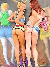 Young Babes, Lena and Melody Public Fun